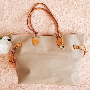 Dooney & Bourke Tan Grey Leather Rare Large Tote